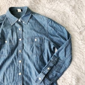 J. CREW blue chambray cotton long sleeve button up
